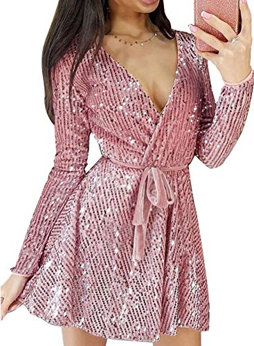 Lovezesent Women's Elegant Sequin Cocktail Party Dress Cute V Neck Wrap Long Sleeve A Line Evening Mini Dresses with Belt Pink Small