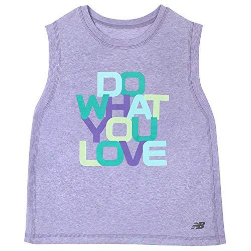 New Balance Girls' Little Graphic Tank Top, ice Violet Heather, 6X
