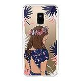 La Coque Francaise Coque Compatible avec Samsung Galaxy A8 2018 Souple Solide Ultra Resistant Fine Protection Housse Etui Couronne de Fleurs Motif Tendance