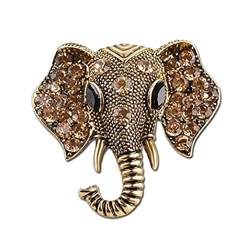 LALANG Crystal Elephant Brooches Vintage Brooch Pin Jewelry Gifts for Women (vintage gold)