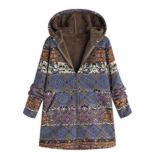 TOPKEAL Jacke Warme Mantel Damen Herbst Winter Sweatshirt Blumendruck mit Kapuze Kapuzenjacke Hoodie Taschen Pullover Übergroße Outwear Coats Mode Tops (Blau-2, L)