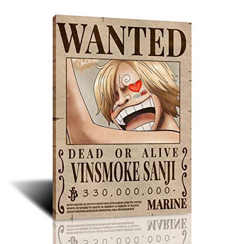 One Piece Wanted Anime Theme Wall Art Print Posters Decoración para Dormitorio, hogar, dormitorios, Oficina, Regalo para fanáticos del Anime (20x30 Pulgadas-Enmarcado,Sanji)