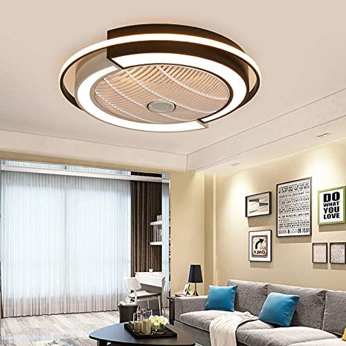 Beeki Ventilador de techo con ventilador de techo moderno ligero con luces, 31 pulgadas redonda invisible Perfil de bajo perfil adjunto fandelier con soplete a ras remoto Ventilador eléctrico silencio