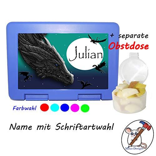 Kinder Brotdose mit Drachen Motiv und Name/Lunchbox für Kinder mit Name/Drachenland/Farbwahl Brotbox + Schriftwahl für Name