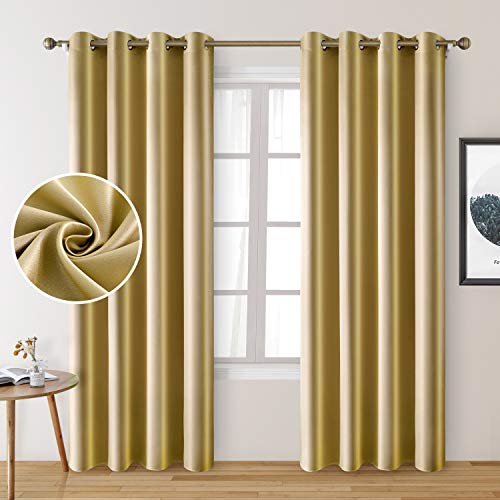 HOMEIDEAS 2 Panels Faux Silk Curtains Gold Blackout Curtains for Bedroom 52 X 96 Inch Room Darkening Satin Drapes/Curtains, Thermal Insulated Blackout Window/Indoor Curtains for Living Room