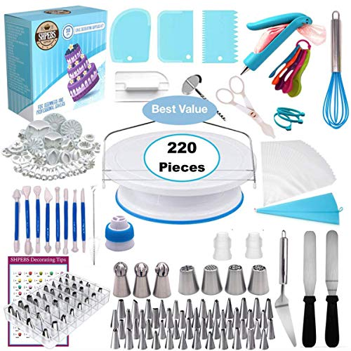 DOLA 220 Piezas Equipo de decoración de Pasteles, Profesional Kit de decoración...