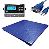 PEC TOOLS Industrial Floor Scale/Pallet Scale with Stainless Steel Indicator for...