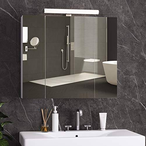 DICTAC Spiegelschrank Bad mit LED-Beleuchtung,Steckdose und Lichtschalter 70x15x60cm(BxTxH) Badezimmer Spiegelschrank mit 3 Türen, Hängeschrank, badspiegel,badschrank mit Spiegel Weiß