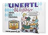 LEotiE SINCE 2004 Blechschild Weissbier Brauerei UNERTL Trink das Original mit Biergarten und Bayern Fahne Werbung aus HAAG 20x30 cm Wohnungsdeko Dekoschild Nostalgie