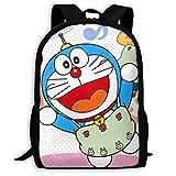 Qfunny Unisex Mochila Mochila Doraemon School Backpack Lunch Bag Set School Bag Boys Girls Bookbag