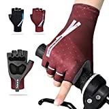 Santic Cycling Bike Gloves Padded Half Finger Bicycle Gloves Shock-Absorbing Anti-Slip Breathable MTB Road Biking Gloves for Men/Women