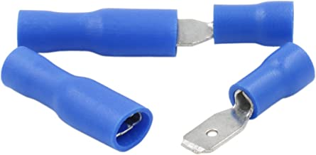 100 Stk Flachsteckhülse 4,8 x 0,8 mm//1,5-2,5 mm² Blau PVC Kabelverbinder Stecker