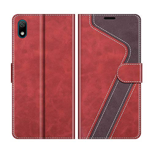 MOBESV Handyhülle für Huawei Y5 2019 Hülle Leder, Honor 8S Handyhülle, Huawei Y5 2019 Klapphülle Handytasche Hülle für Huawei Y5 2019 / Honor 8S Handy Hüllen, Modisch Rot