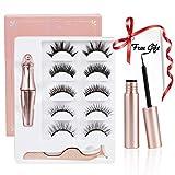 Magnetic Eyelashes - 5 Pairs Reusable Magnetic Eyelashes Kit with 2 Eyeliner & 1 Tweezer, Natural Magnetic Eyelash, No Glue Needed, Easy to Wear