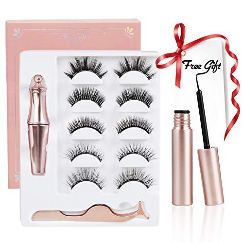 Magnetische Eyeliner und Wimpern, 5 Paar natürliche und wiederverwendbare Wimpern mit einer Pinzette und 2 Flaschen magnetischer Eyeliner (dick und dünn), Ihr schneller Augen-Make-up-Helfer