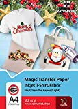 Raimarket Premium Iron on Transfer Paper for T shirts or any Light or White Fabric | 10 Sheets | 8.5 x 11' | DIY Printable HTV Iron-On Transfers