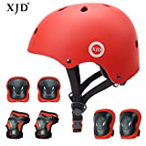 XJD Set de Protection Vélo Enfants Casque Ajustable Genouillères Coudières Protège-Poignets 7 en 1 Kit Complet de Protection Garçons Filles de 3-8 Ans pour Skateboard Trottinette BMX (Rouge)