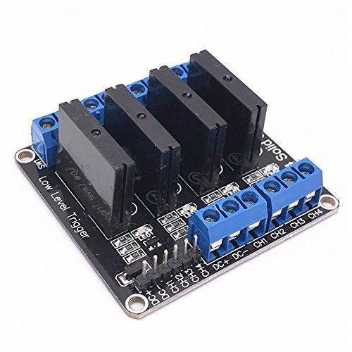 Ecloud Shop/® 5V 4-Channel rel/é de estado s/ólido de alto nivel del disparador SSR tablero del m/ódulo de Arduino ARM DSP PIC con el terminal resistente del fusible