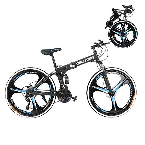 Folding Mountain Bike, 26-inch Outdoor Sports High Carbon Steel MTB Bicycle, Aluminum Wheel Rim, 21-Speed Rear Derailleur, Suitable for Men and Women Cycling Enthusiasts (Blue-T01)