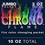 CHROMO FLAME Fire Color Changing Packets for Fire Pit, Campfire, Bonfire, Outdoor Fireplace | Mystic, Rainbow, Magic, Colorful Flames | 10 oz Total, 5-2 oz Jumbo Packets
