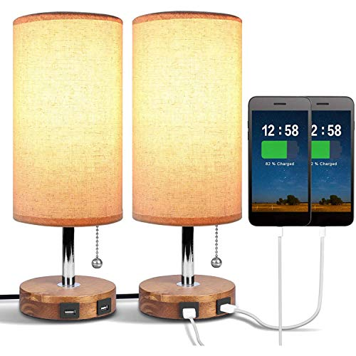 Lopbinte USB Bedside Table Lamp,with Dual USB Quick Charging Port,Round,for Bedrooms,Living Room,Dinning,Office,2 Pack,UK Plug