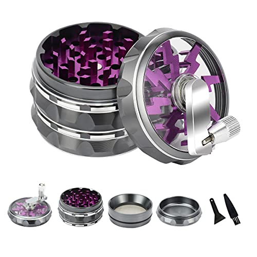 """HOKirin Herb Grinder, 2.5"""" 4 Piece Hand Crank Spice Grinder with Magnetic Lid and Clear Top, Aluminum Manual Large Grinder with Handle, Includes..."""