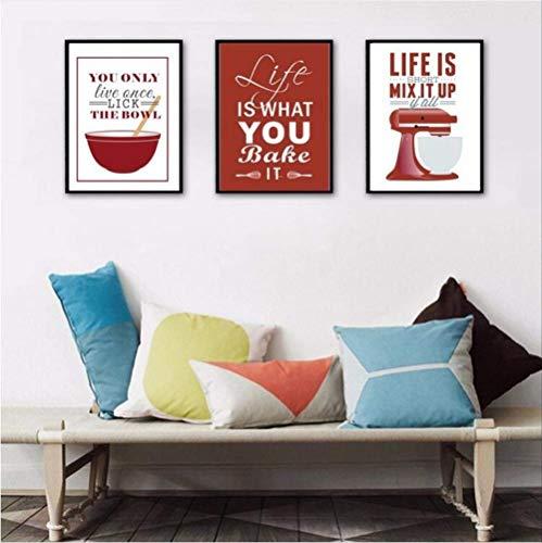 LWJZQT canvas prints 3 Stks Posters En Prints Leven Quote Canvas Muur Schilderen Leven Is Wat Je Bak Moeder Gift Pop Art Decoratieve Modulaire Afbeeldingen