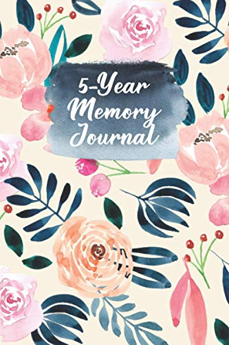 5-Year Memory Journal: Peach and Blue Floral One Line A Day Diary to Capture Memories in Minutes