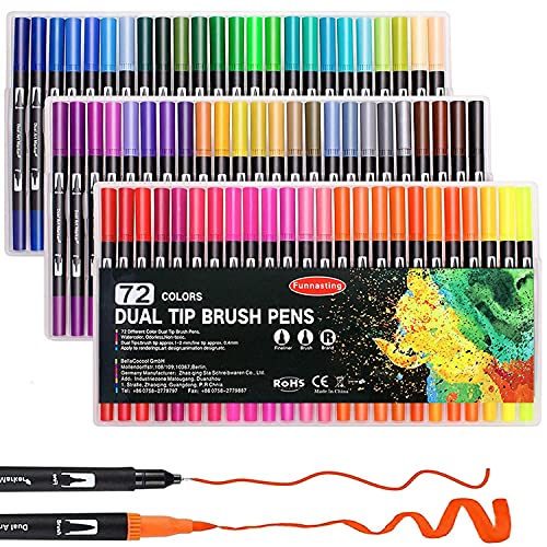 Dual Tip Brush Marker, Funnasting 72-Colors Artist Brush Markers Pens Coloring Markers Pen for Kids Adult Coloring Books Bullet Journaling Note Taking Lettering Calligraphy Drawing Pens Craft Supplies