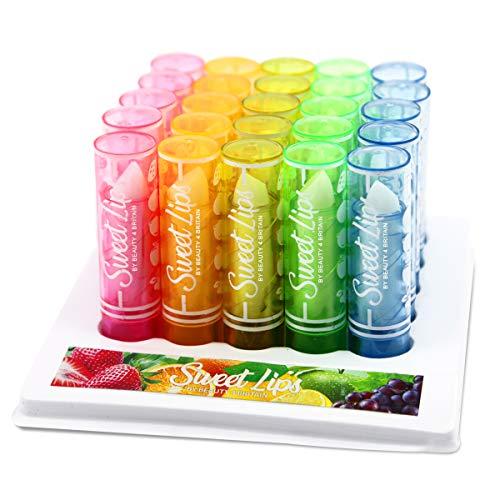 Pack de 100 bálsamos labiales con brillo, venta al por mayor, sabores frutales variados