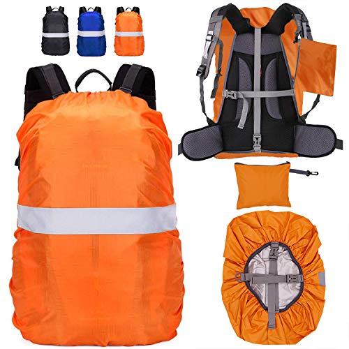 Funda para Mochila Cubierta Impermeable de Mochila 15-65L Altamente Reflectantes Protectora Funda de Mochila Anti Polvo para Excursionismo Camping Viajar Actividades al Aire Libre (Naranja, L(55-65L))