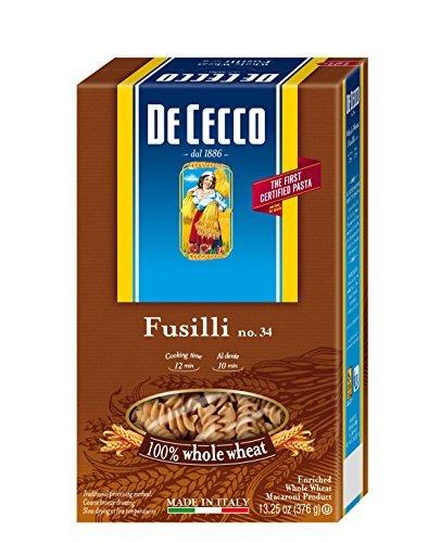 De Cecco Whole Wheat Pasta, Fusilli, 13.25 Ounce (Pack of 12) by