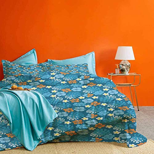 Luau 3 Piece Duvet Cover Tropical Plants Pattern with Swiss Cheese Plants and Exotic Flowers Growth Image Quality Premium Bedding Collection Blue Marigold – Comforter Cover and 2 Pillow Shams King
