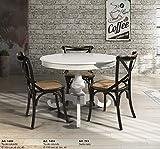 L'Aquila Design Arredamenti Table&Chairs Tavolo da Pranzo Shabby Chic Laccato Bianco Rotondo con allunga da 40 cm 1468
