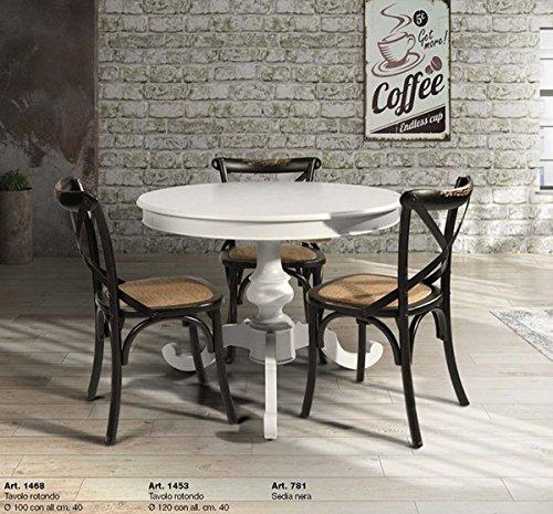 L Aquila Design Arredamenti Table&Chairs Tavolo da Pranzo Shabby Chic Laccato Bianco Rotondo con allunga da 40 cm 1453
