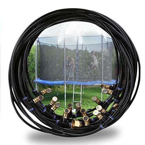 ACBungji Sistema de pulverización para exteriores con sistema de riego, sistema de refrigeración, sistema de aspersor para jardines, piscinas, ventilador, trampolín, 15 m, color negro
