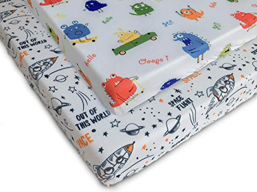 Best Prices! Pack n Play Fitted Pack n Play Playard Sheet Set-2 Pack Portable Mini Crib Sheets,Playa...