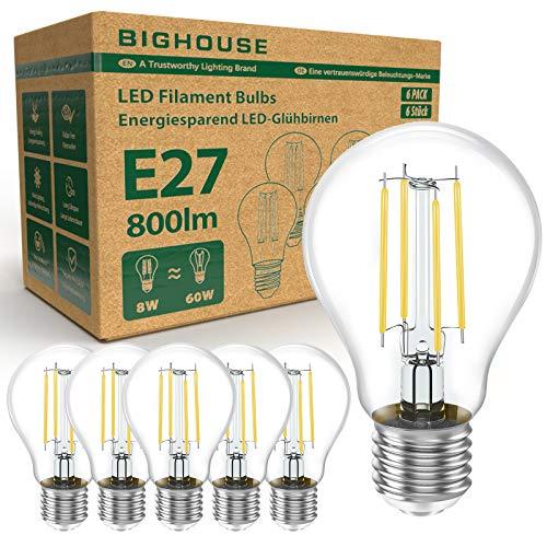 E27 LED Lampe, 8W Ersetzt 60W Halogenlampen, 800 Lumen, 2700K Warmweiß, Filament Klar, A60 Leuchtmittel, 6 Stück [Energieklasse A+]
