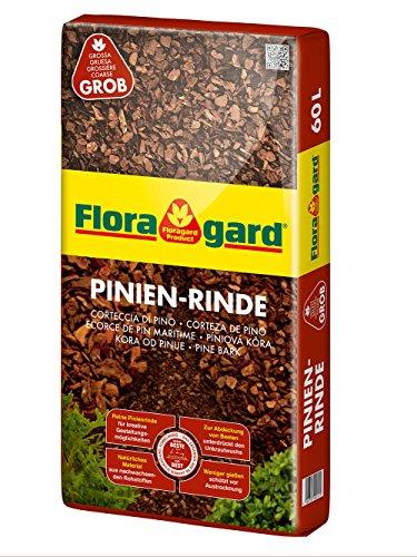 Floragard Mulch Pinienrinde 25-40 mm 60 L • grob • dekorativer Bodenbelag • unterdrückt Unkrautwuchs • naturbelassen • für mediterranes Flair
