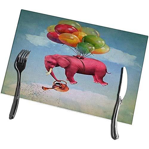 Placemats voor de eettafel 6-delige set roze olifant in The Sky met gieter wasbaar gemakkelijk te reinigen placemat 12X18IN