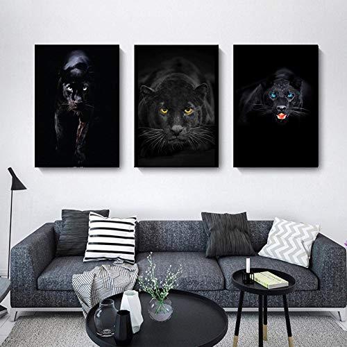 """Animales arte negro leopardo pantera lienzo pintura cuadros de pared para sala de estar arte de pared carteles impresiones decoración del hogar 50x70cmx3 / 19.7""""x27.6"""" Sin marco"""