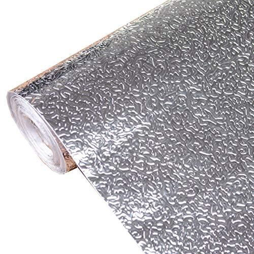 Papel de Aluminio Adhesivos de Pared, Autoadhesivo Anti- Aceite Aislante Térmico Película, Armario Pegatinas a Prueba de Humedad Cocina Almohadilla Extraíble para Cocina Habitación - 1#, 40cmx5m