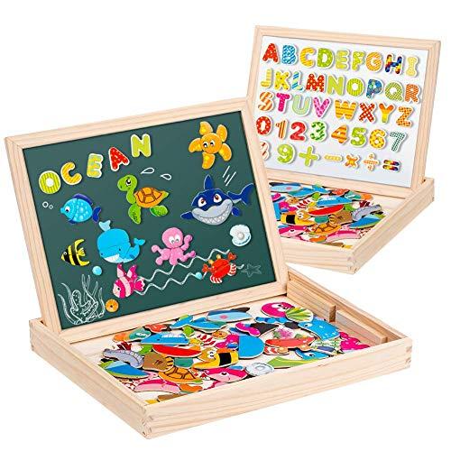 Uping Puzzle Magnetico Legno 130 Pezzi con Lavagna a Double Face per Bambini 3 Anni+
