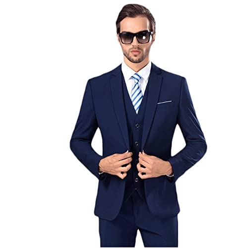 MAGE MALE Mens Solid 3-Piece Suit Slim Fit Notch Lapel One Button Tuxedo  Blazer 94ac65c6ef6b