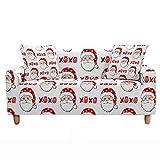 Navidad Funda para Sofá Elástica de 1/2/3/4 Plazas, Chickwin Impresión de Christmas Universal Antideslizante Tejido Elástico Extensible Cubierta Protector de Sofá (Papá Noel,3 plazas)