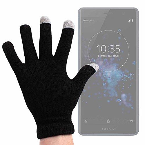 DURAGADGET Guantes Negros para Pantalla Táctil para Smartphone Sony Xperia XZ2 Premium/Xiaomi...