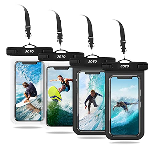 JOTO 4 uds. Bolsa Estanca Móvil Universal, Funda Impermeable para iPhone 12 Mini/Pro/Pro MAX/11/XS/XR/8 Plus/7 Plus, Galaxy Note10+/S20 Ultra/S20+/S10e, Huawei hasta 6,9' Diagonal -Negro/Claro