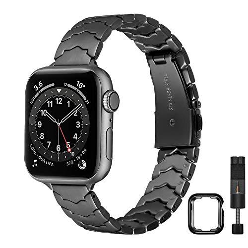 AOYU Kompatibel mit Apple Watch Armband 42mm 44mm 38mm 40mm, Metall Einzigartiges Sternförmiges Ersatzarmband Kompatibel für iWatch Series 6/5/4/3/2/1, SE (42mm 44mm,Schwarz)