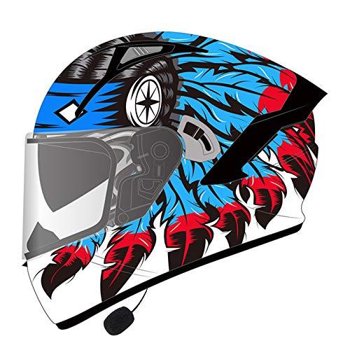 ZLYJ Casco Integral Bluetooth para Motocicleta, con Lente Doble Antivaho, Casco Abatible Casco para Motocicleta, Manos Libres, Sin Ruido, Certificado ECE D,XXXL(64-65cm)