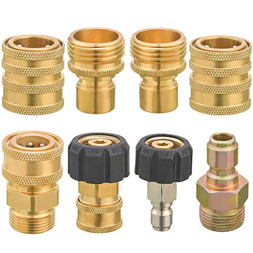 Ridge WAHSER Pressure Washer Adapter Set, Quick Connect Fittings, M22 to 3/8 Inch Quick Connect, 3/4 Inch to Quick Release, 8 PCS